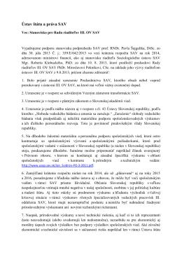 STANOVISKO pre Radu riadteľov III. oddelenia SAV