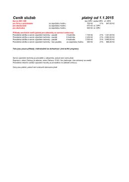 Ceník služeb platný od 1.1.2015