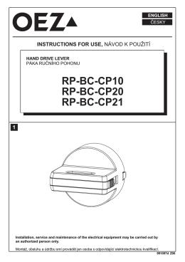Páka ručného pohonu - RP-BC-CP10, RP-BC-CP20, RP-BC-CP21