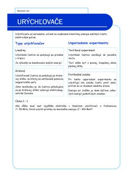 Pracovný list - Urýchľovače