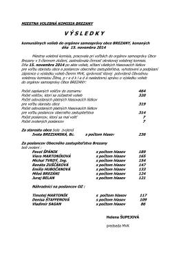 Výsledky volieb do orgánov samosprávy Obce