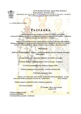 P o z v á n k a - Gréckokatolícka eparchia Košice