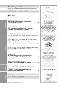 Hydraulika a pneumatika Obsah čísla 3