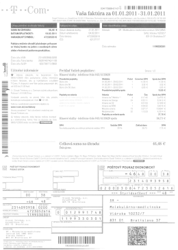 Faktúra Slovak Telekom, a.s. - MMC