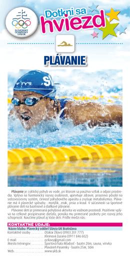 plávanie - Športová hala Mladosť