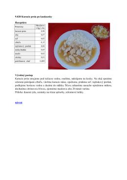 9.020 Kuracie prsia po kaukazsky Receptúra Výrobný
