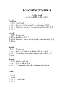 Denné menu - Pohostinstvo Buris