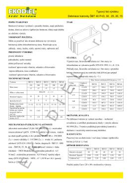 Typový list výrobku Debniace tvarovky ŠBT 40 P+D, 30 , 25