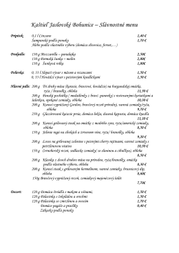 Kaštieľ Jaslovské Bohunice – Slávnostné menu - kastiel