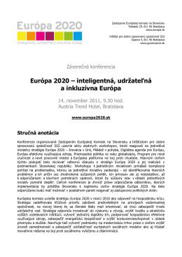 Európa 2020 – inteligentná, udržateľná a inkluzívna Európa