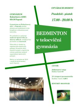 BEDMINTON v telocvični gymnázia - Gymnázium, Kukučínova 4239