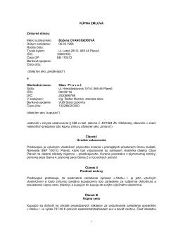 Kúpna zmluva - Obec Plaveč