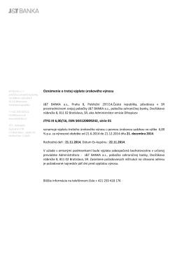 Oznámenie o tretej výplate úrokového výnosu JTFG III 6