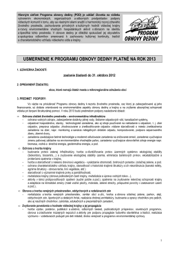 Usmernenie platné k Programu obnovy dediny 2013