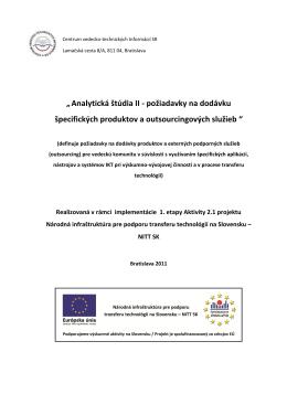Analytická štúdia II - požiadavky na dodávku špecifických