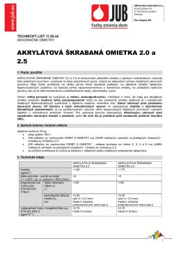 Technický list Akrylátová škrabaná omietka - do