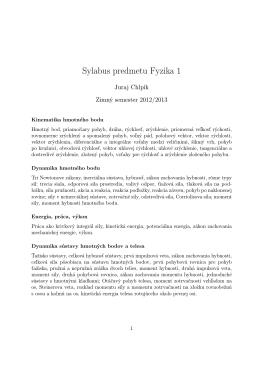 Sylabus predmetu Fyzika 1