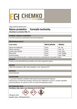 Názov produktu: Formalín technicky