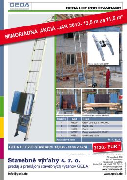 MIMORIADNA AKCIA -JAR 2012- 13,5 m za 11,5 m*