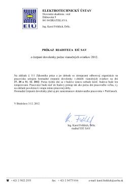 Príkaz riaditeľa - Elektrotechnický ústav SAV