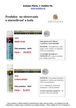 Produkty na ošetrovanie a starostlivosť o kožu