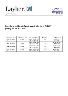 Cenník prenájmu lešenárskych kôz typu GRAF platný od 01. 01. 2012