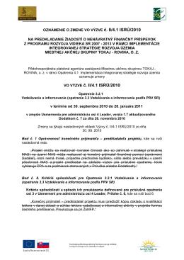 Oznámenie o zmene vo výzve č. II/4.1 ISRÚ/2010 - Tokaj