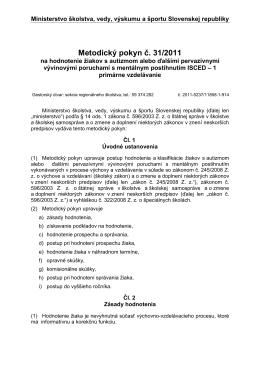Metodický pokyn č. 31-2011 na hodnotenie žiakov s