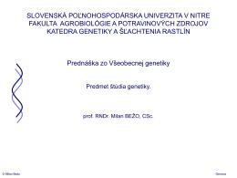 Bez nadpisu - Slovenská poľnohospodárska univerzita v Nitre