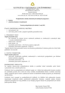 Predpokladové skúšky - História - Filozofická fakulta KU