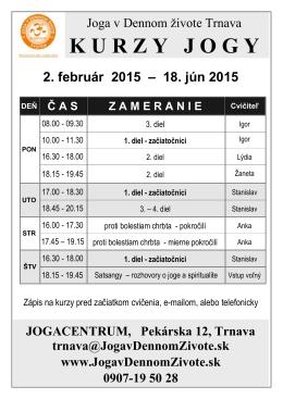 Rozpis kurzov od 2.2.2015