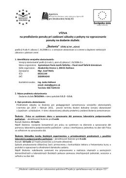 VÝZVA na predloženie ponuky pri zadávaní zákazky a pokyny na