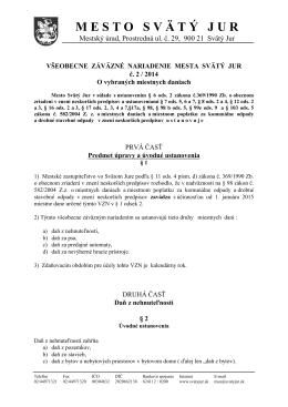 VZN č. 2/2014 o vybraných miestnych daniach