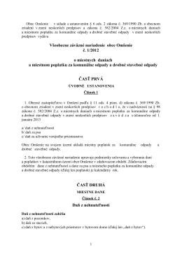 VZN č. 1-2012 o miestnych daniach a miestnom poplatku