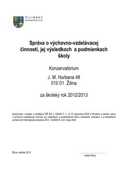 Vyhodnocovacia správa za rok 2012-13