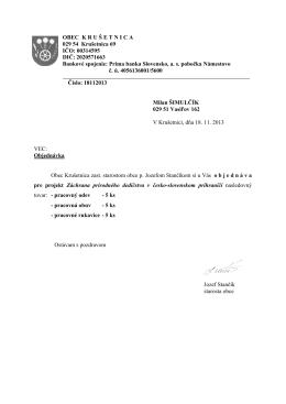 Objednávky 2013 - Obec Krušetnica
