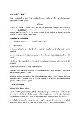 Uznesenie č. 16/2015: