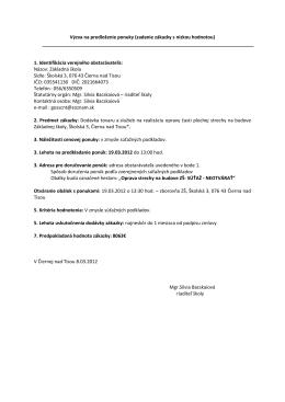 Výzva na predloženie ponuky (zadanie zákazky s nízkou hodnotou