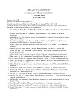 Zoznam 114 kandidátov na poslanca MsZ