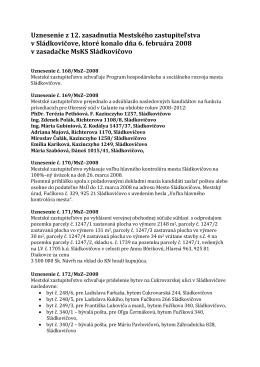 Uznesenie z 12. zasadnutia Mestského