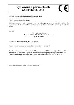 Vyhlásenie o parametroch č. CPR/Eforte/03-2013