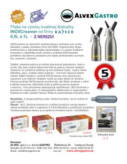 Fľaša na výrobu kvalitnej šľahačky INOXCreamer od