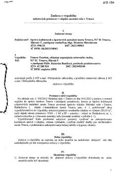 Zmluva o výpožičke - Správa kultúrnych a športových zariadení