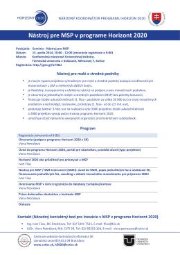 """Seminár """"Nástroj pre MSP v programe Horizont 2020"""""""