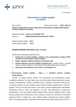 Ročná správa o riešení projektu za rok 2011