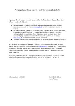 Postup pri uzatváraní zmluvy o poskytovaní sociálnej služby