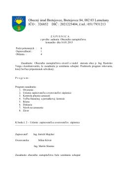 Zápisnica z 1. zasadnutia OZ (16.1.2015)