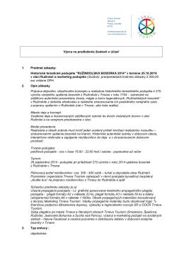 Výzva na predloženie žiadostí o účasť 1. Predmet