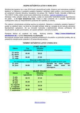 Rozpis súťažných letov - Klub chovateľov letúnov a tipplerov