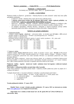 Osemročné športové gymnázium, Trieda SNP 54, Banská Bystrica